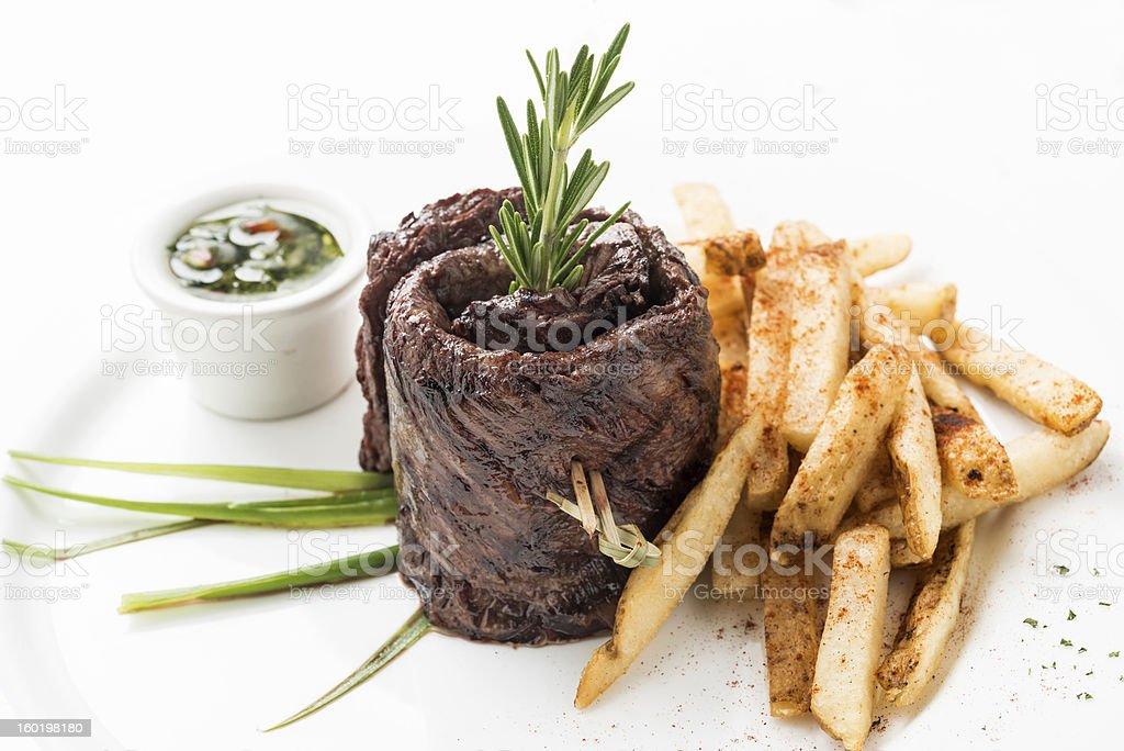 Skirt Steak with fries stock photo