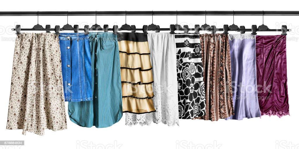 Skirts on clothes racks stock photo