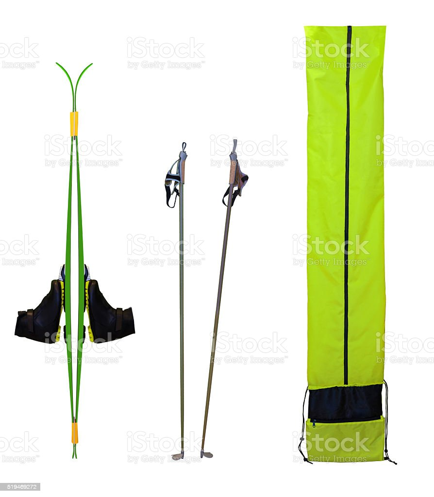 Skis and boots stock photo