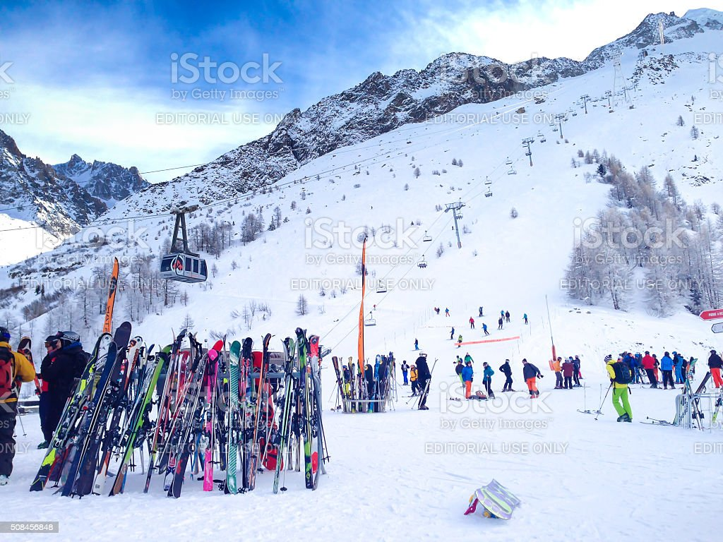 Skis and slopes view at Les Grands Montets ski area stock photo