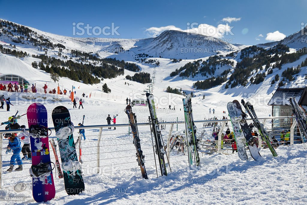 Skis and snowboards ready to go in Andorra royalty-free stock photo