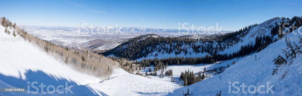Ski/snowboard Backcountry - deserted area - backcountry bowl - park city, utah stock photo