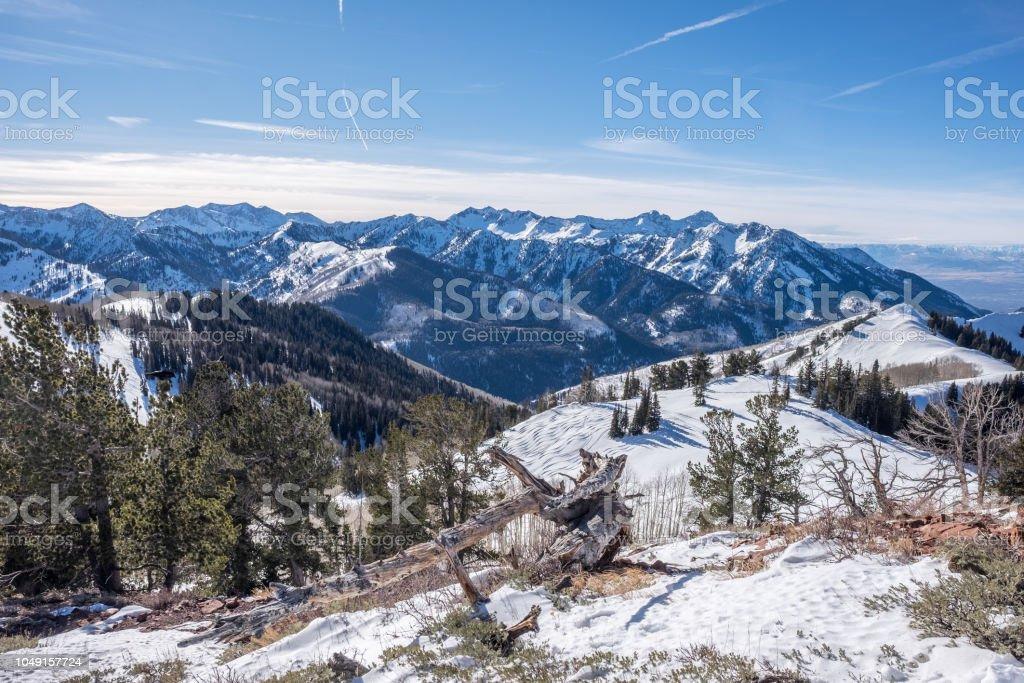 Ski/snowboard Backcountry - deserted area - snow capped - park city, utah stock photo