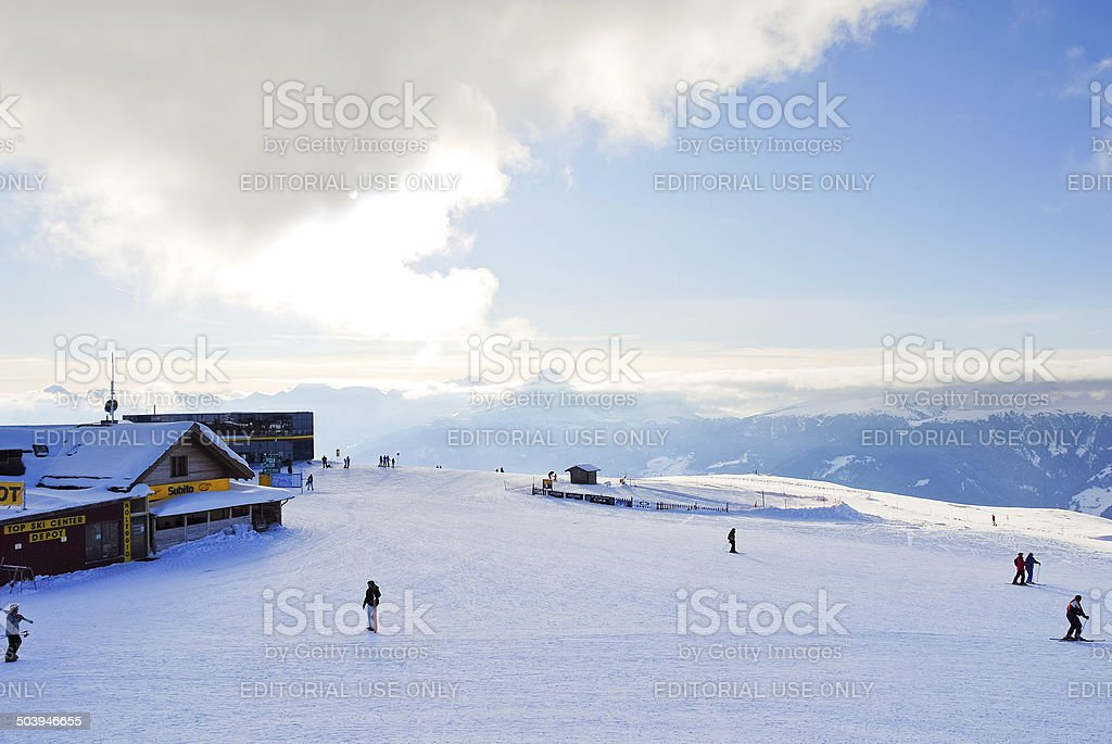 skisport in Val Gardena, Dolomites, Italy stock photo