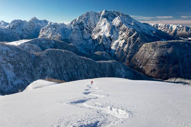 Skitouring downhill - powder skiing at Watzmann - Nationalpark Berchtesgaden Ski touring at Mount Watzmann, Alps ski stock pictures, royalty-free photos & images