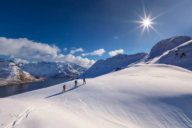 Skitouring - powder skiing at  Lofoten - Norway stock photo