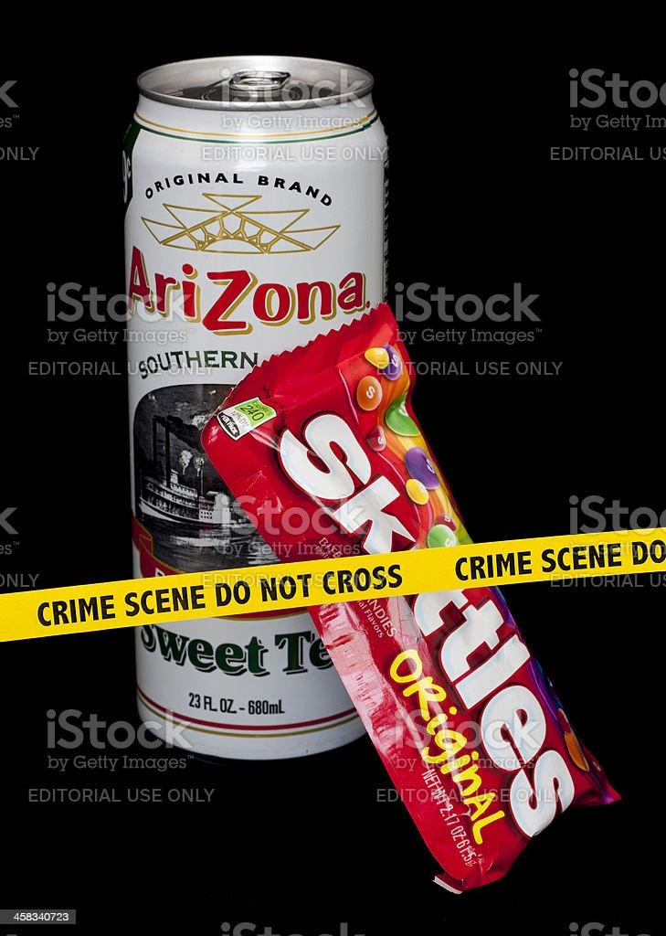 Skittles And Arizona Iced Tea Crime Scene stock photo