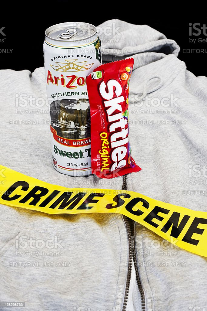 Skittles, Arizona Iced Tea and Hoodie Crime Scene stock photo