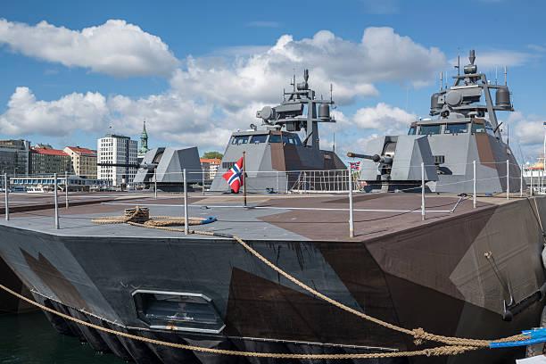 Skjold class corvettes of Royal Norwegian Navy in Bergen harbor stock photo