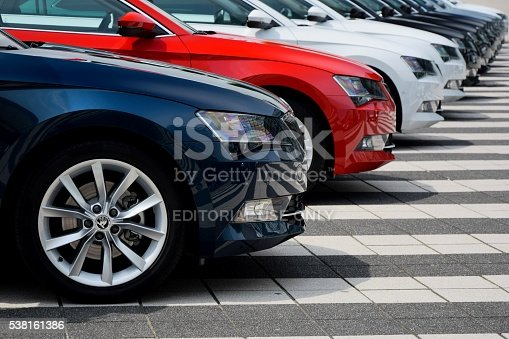 Munich, Germany - 3rd July, 2015: Skoda Superb cars stopped on the parking during the press launch. The first generation of Superb was debut in 2001 on the market. The third generation of luxury liftback from Skoda is powered by diesel or petrol engines (pushing out 110-280 HP). The Superb is the most luxury car in Skoda offer.