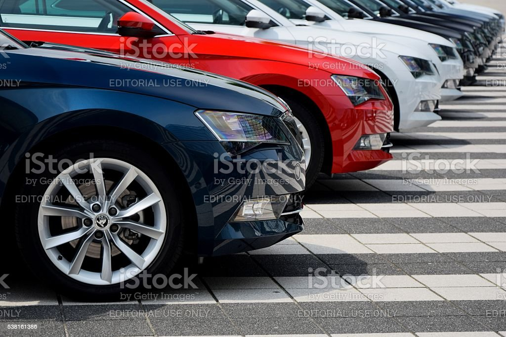 Skoda cars in a row stock photo