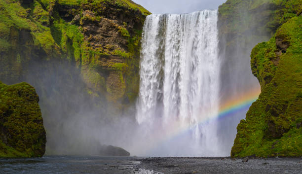 skogafoss iceland - waterfall stock photos and pictures