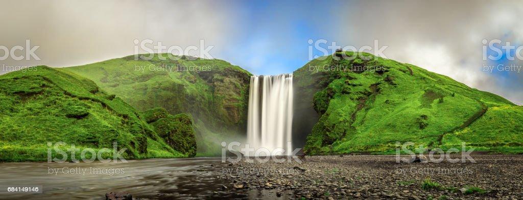 Skogafoss waterfall panorama in southern Iceland from above royaltyfri bildbanksbilder