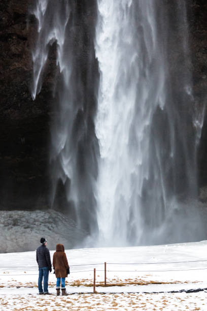 skogafoss waterfall - stephen lynn stock pictures, royalty-free photos & images