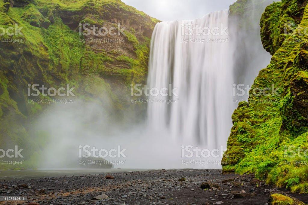 Skogafoss Waterfall Skoga River Iceland Skógafoss stock photo