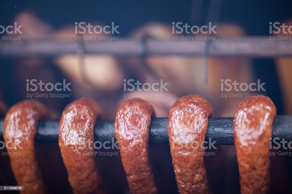 Skokehouse - Home Made Sausages.. stock photo