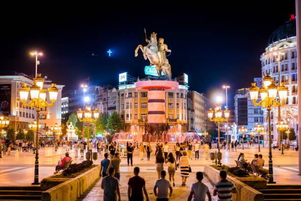 üsküp şehir merkezi / kent meydanı, makedonya cumhuriyeti, europe - üsküp stok fotoğraflar ve resimler