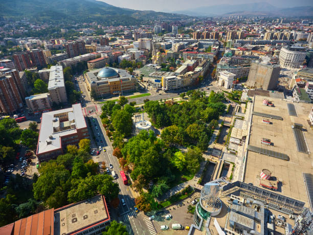 Skopje city from the air. The capitol city of Macedonia. stock photo