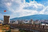 Skopje, Macedonia - August 26, 2017: Skopje cityscape landmark view from the fortress, capital city of Macedonia