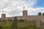 Skopje, North Macedonia - May 21 2019: The Skopje Fortress, commonly referred to as Kale (from kale, the Turkish word for 'fortress'), is a historic fortress located in the old town of the capital of North Macedonia.