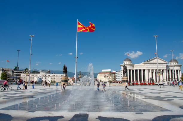 skopje, makedonya-sehir merkezi - üsküp stok fotoğraflar ve resimler