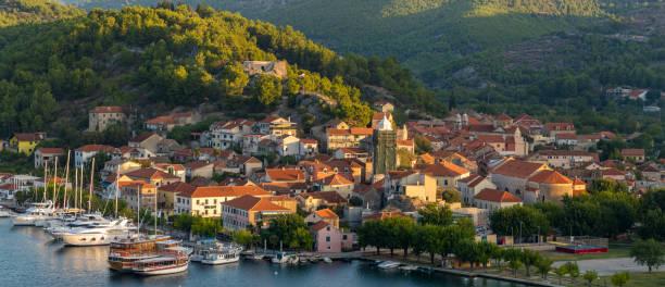 Skradin, Croatia - Panorama.Port town on the Krka River near the Krka Park