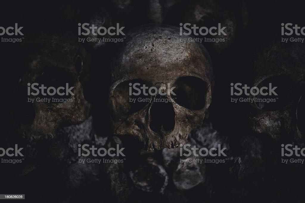 Skull and bones - very dark lowkey royalty-free stock photo