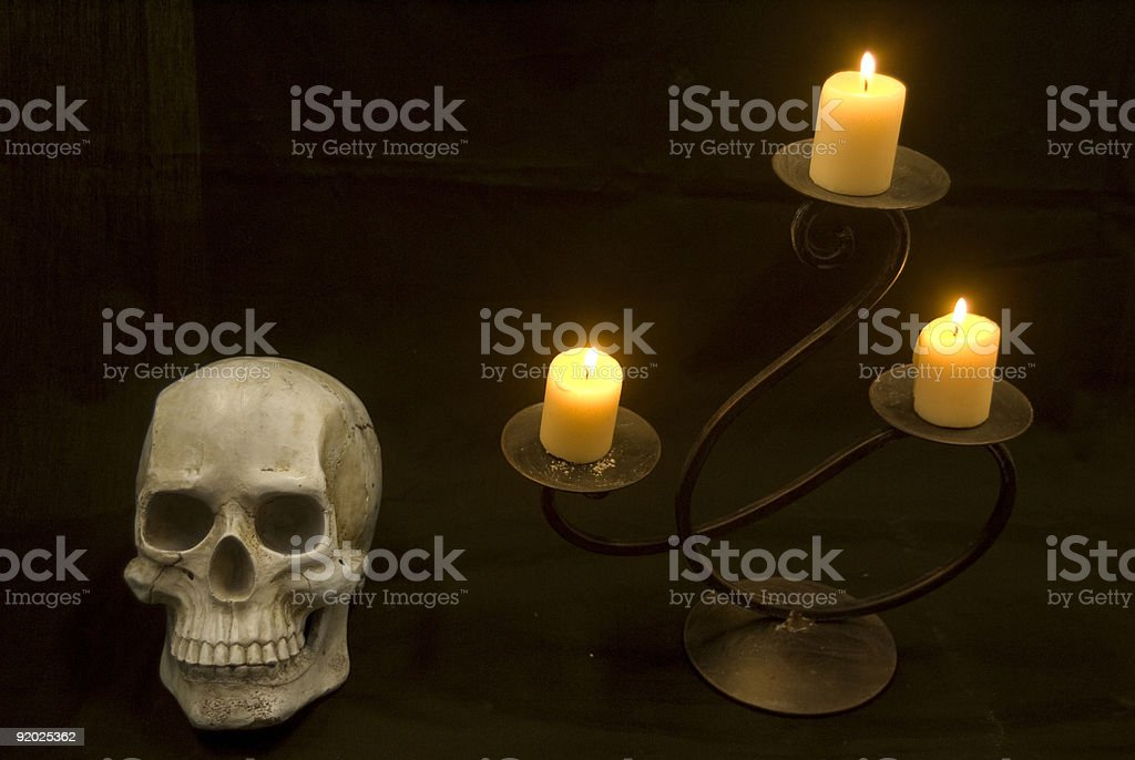 Skull and Candle royalty-free stock photo