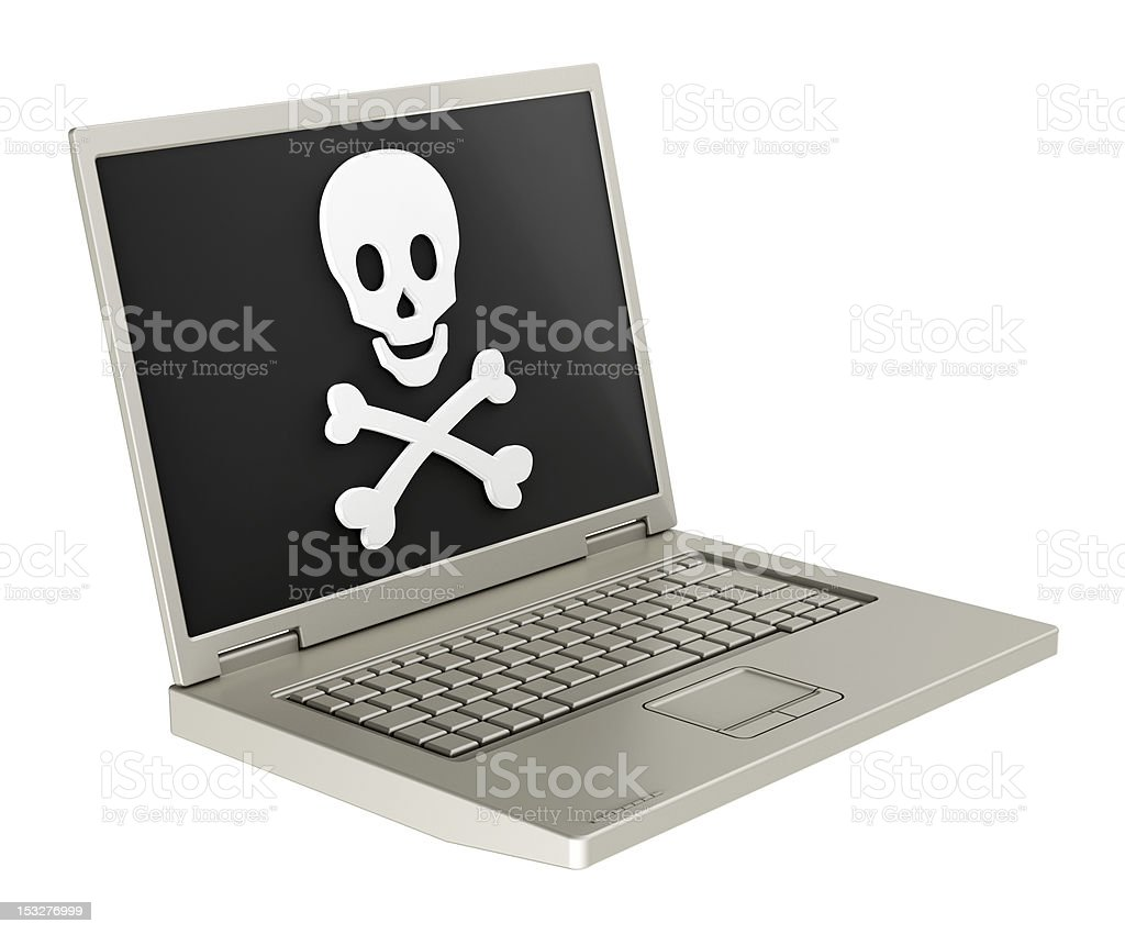 Skull and crossbones on the laptop screen. royalty-free stock photo