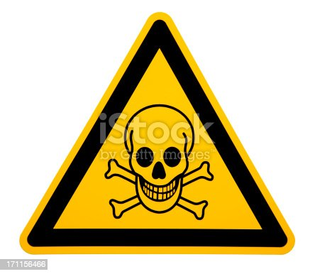 A photograph of a Skull and Crossbones toxic chemical warning sticker isolated on white
