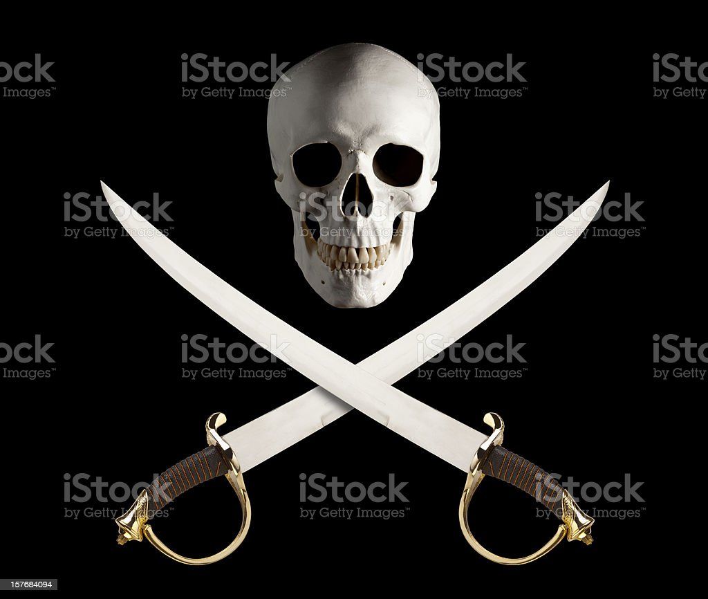 Skull and Crossed Swords, great Pirate Flag. stock photo