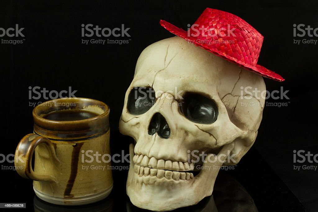 Skull and hat stock photo