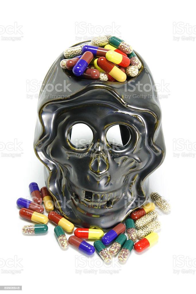 Skull and Pills royalty-free stock photo