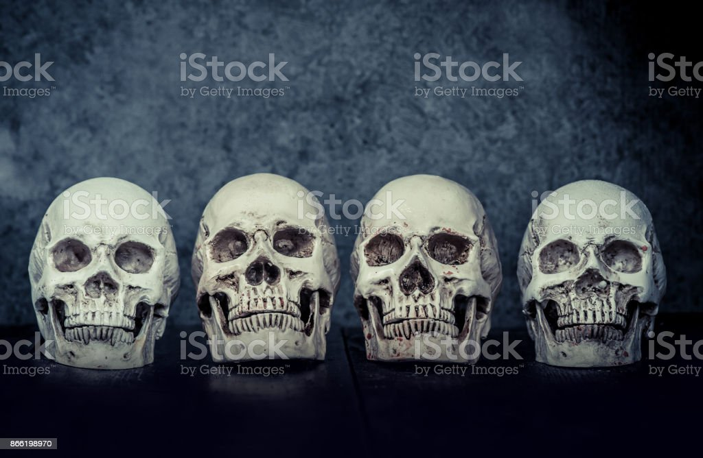 Skull and scary scene for Halloween trick or treat stock photo