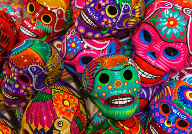 Skull Ceramic Handicraft, Mexico City stock photo