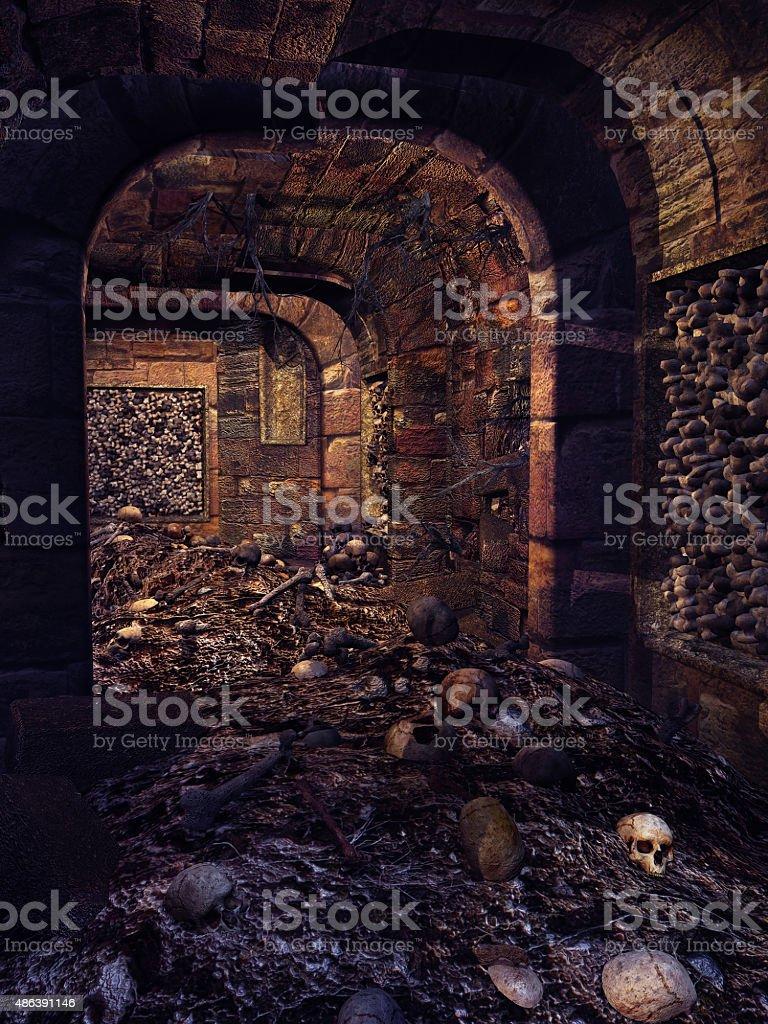 Skull crypt stock photo