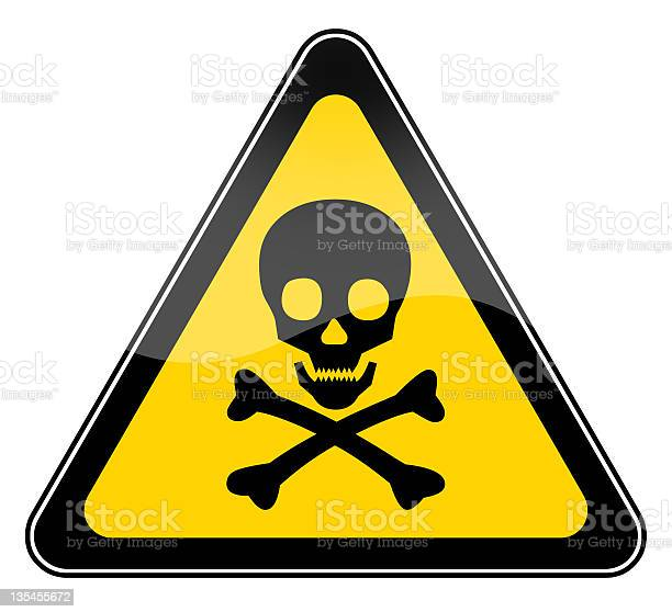 Skull danger sign isolated on white background