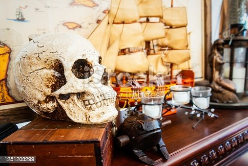 Skull for sale in an antique shop