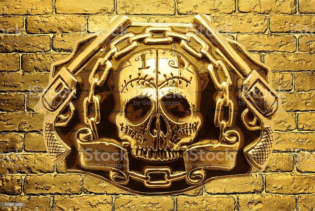 Skull Golden Guns On A Background Of Golden Brick Wall Stock Photo ...