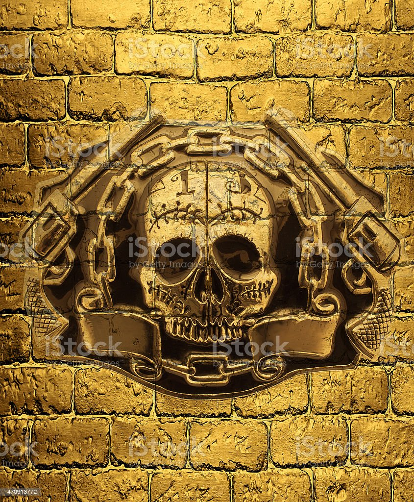 Skull Golden Guns On A Background Of Golden Brick Wall Stock Photo ...
