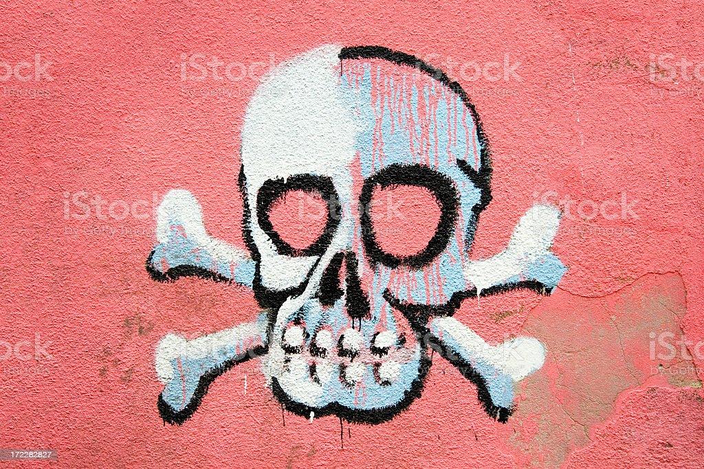 Skull graffiti stock photo