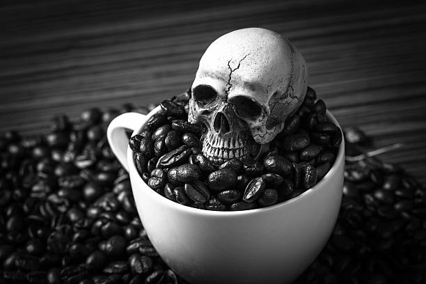 skull in coffee cup - coffe with death bildbanksfoton och bilder