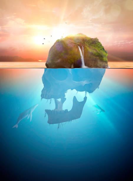 schädelinsel - die toteninsel stock-fotos und bilder