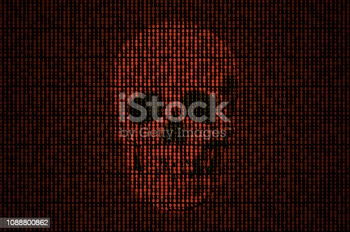 Skull popping out from a red binary code background.