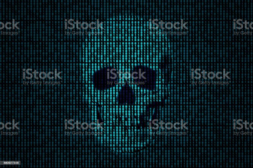 Skull made of binary code stock photo