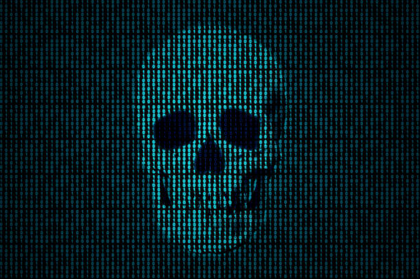 Skull made of binary code Human skull getting out of the binary code. spyware stock pictures, royalty-free photos & images