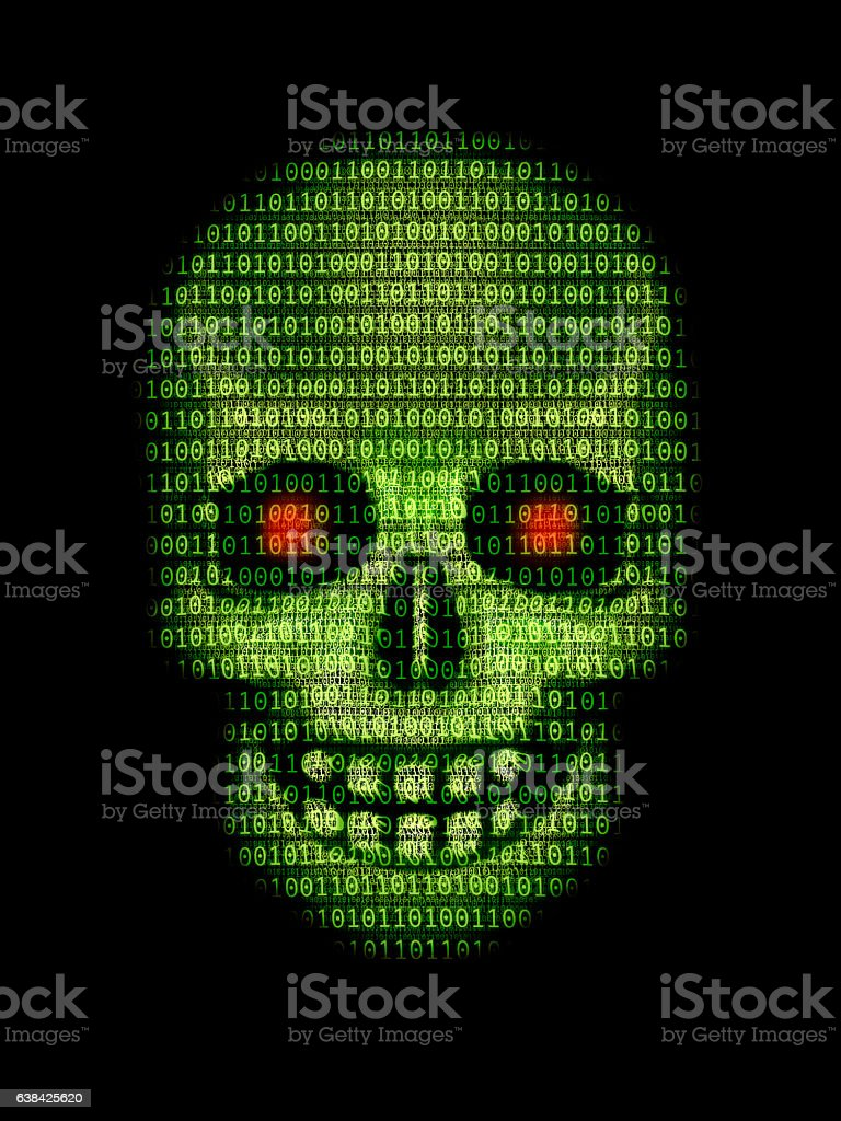 Skull made of data stock photo