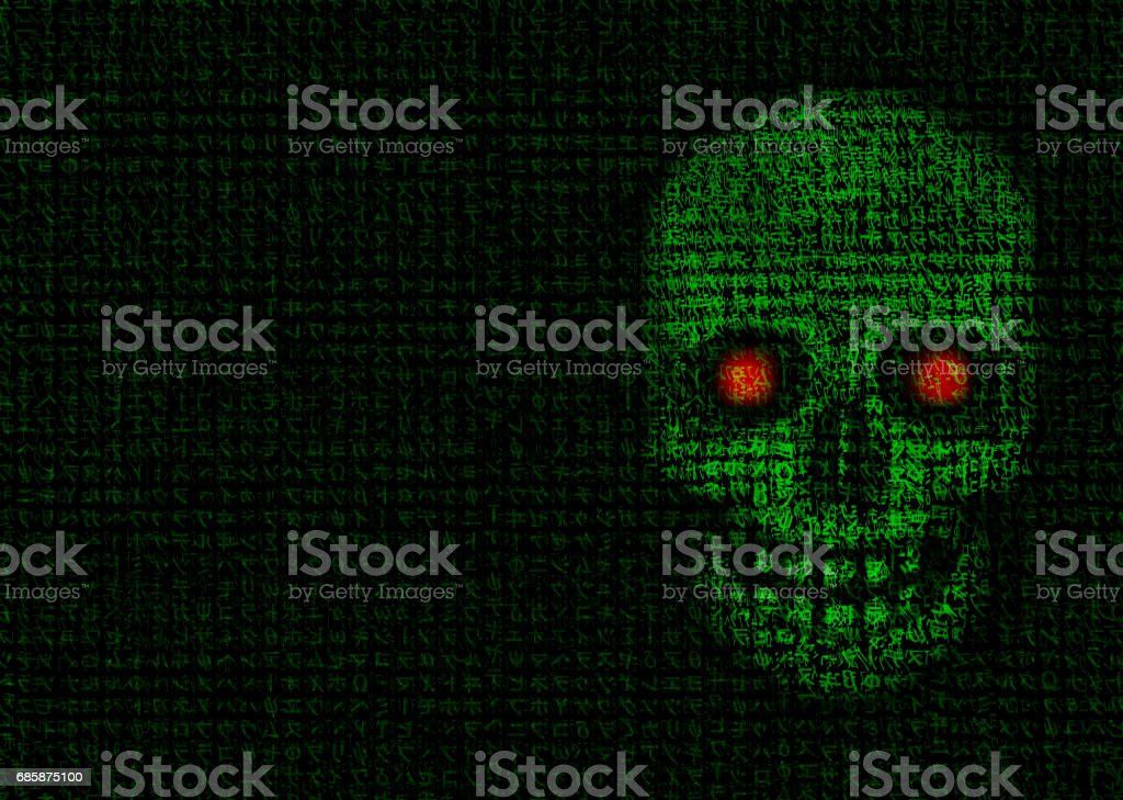 RANSOMWARE - 5 - Skull made of data stock photo