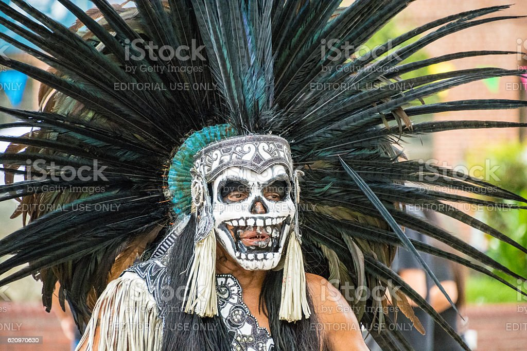Skull - Mexican Street Performer - El Pueblo Los Angeles stock photo