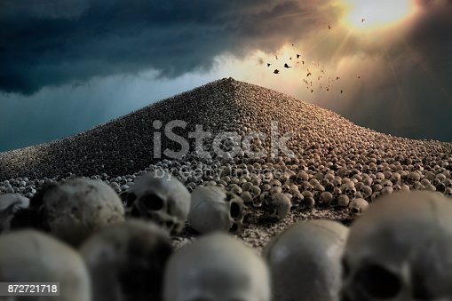 Mountain of human skulls with crows flying over
